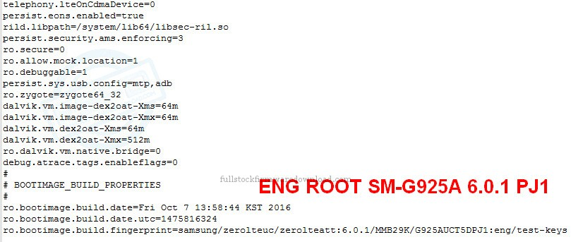 Eng Root/ Eng Boot, Eng Sboot for Samsung SM-G925A Galaxy S6 Edge