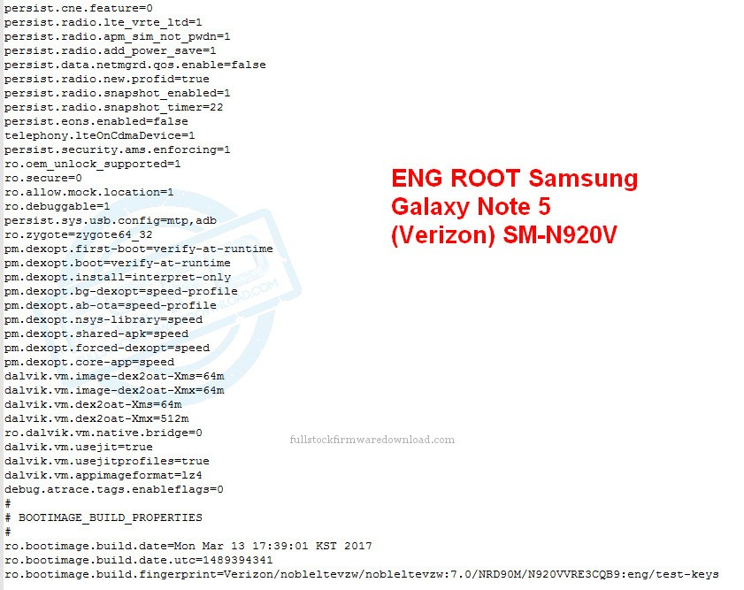 ENG ROOT for Samsung Galaxy Note 5 (Verizon) SM-N920V | Full Stock