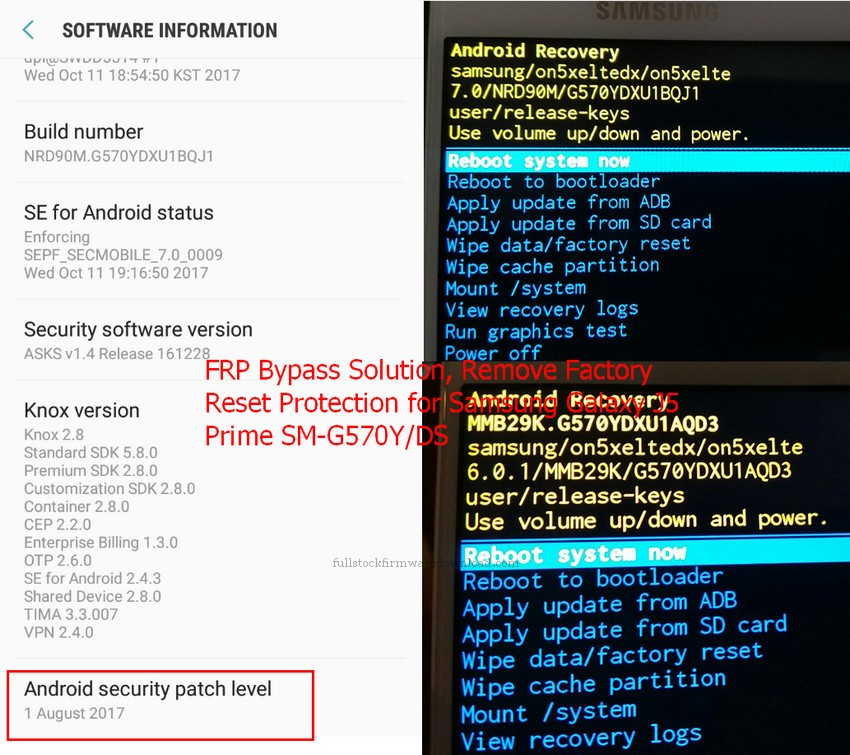 FRP Bypass Solution, Remove Factory Reset Protection for Samsung SM