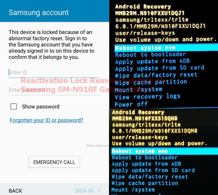 Samsung Reactivation Lock Remove Solution for Samsung SM-N910F