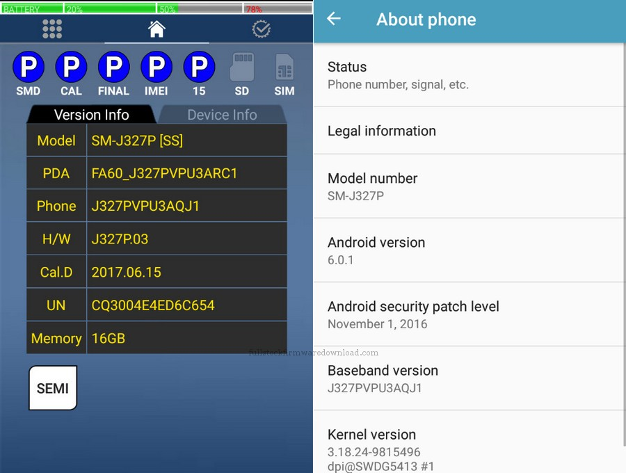 Combination firmware for Samsung SM-J327P Galaxy J3 Emerge