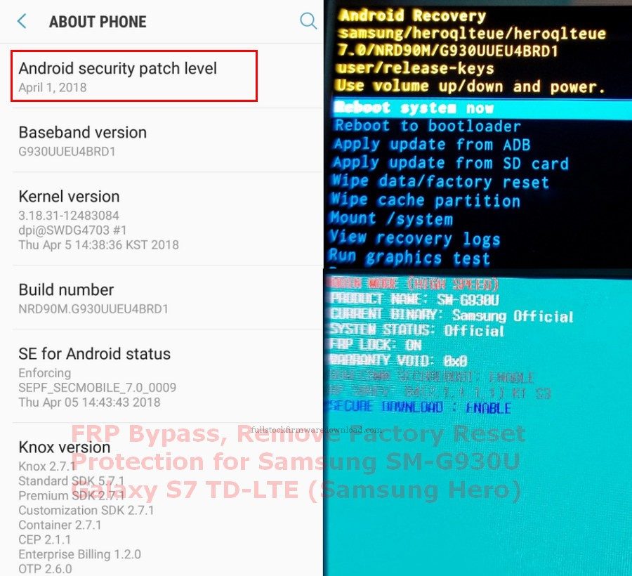 FRP Bypass, Remove Factory Reset Protection for Samsung SM-G930U