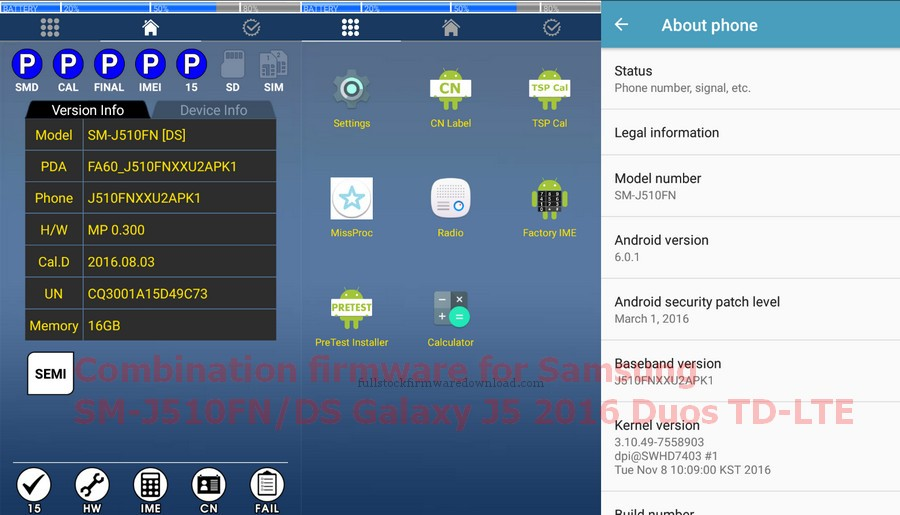 Combination firmware for Samsung SM-J510FN/DS Galaxy J5 2016