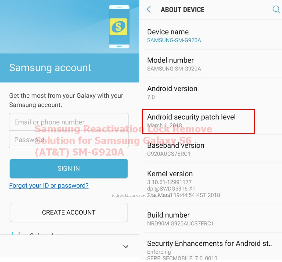Samsung Reactivation Lock Remove Solution for Samsung SM-G920A Galaxy S6 LTE-A (Samsung Zero F) (Android 7.0, Nougat)