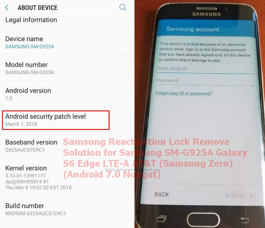 Samsung Reactivation Lock Remove Solution for Samsung SM-G925A
